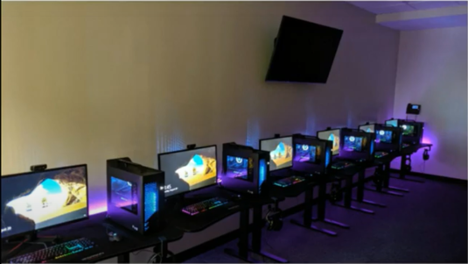 Computers lined up: Cases are RGB and have liquid cooled computers with processors that allow for the fastest possible experience when competing competitively. | AVIXA