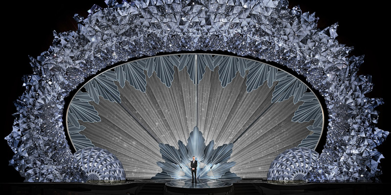 PHOTO CREDIT Courtesy Derek McLane for Oscars 2018. The new proscenium arch design by Derek McLane includes 45 million Swarovski crystals.