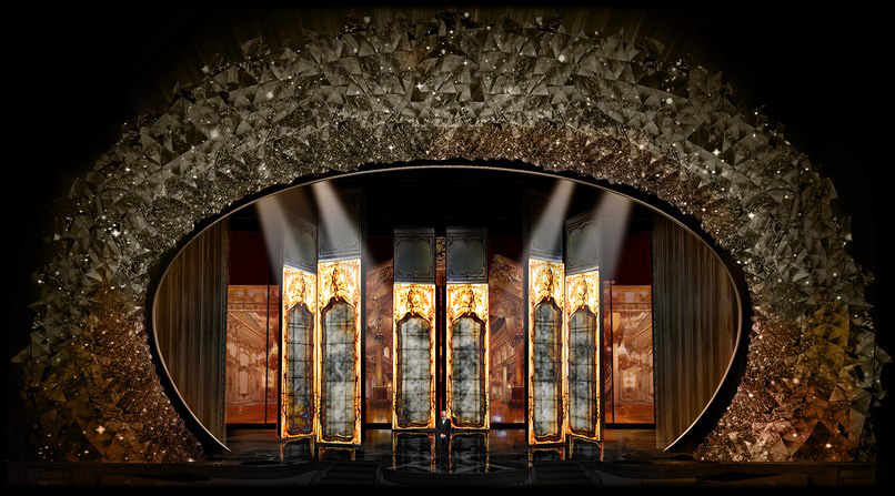 PHOTO CREDIT Courtesy Derek McLane for Oscars 2018. Six rotating mirror elements will feature LED screens on one side.