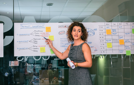 Image of instructor with project management diagrams on white board | AVIXA