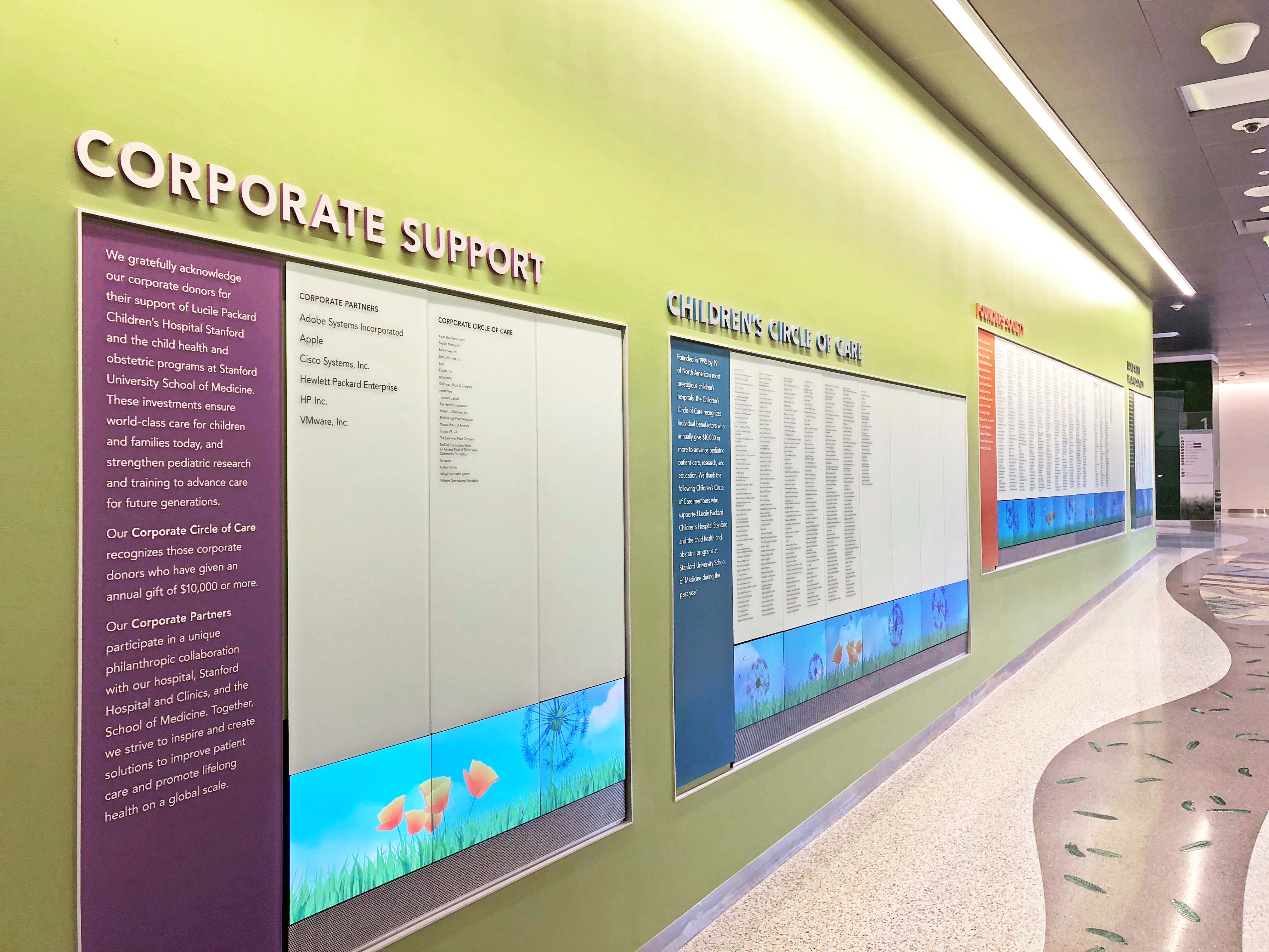 Lucille Packard Children's Hospital interactive wall. Exhibit Design by Clearstory, Inc.  Interactive programming and AV Integration by BBI Engineering, Inc. Photo credit Clearstory, Inc | AVIXA