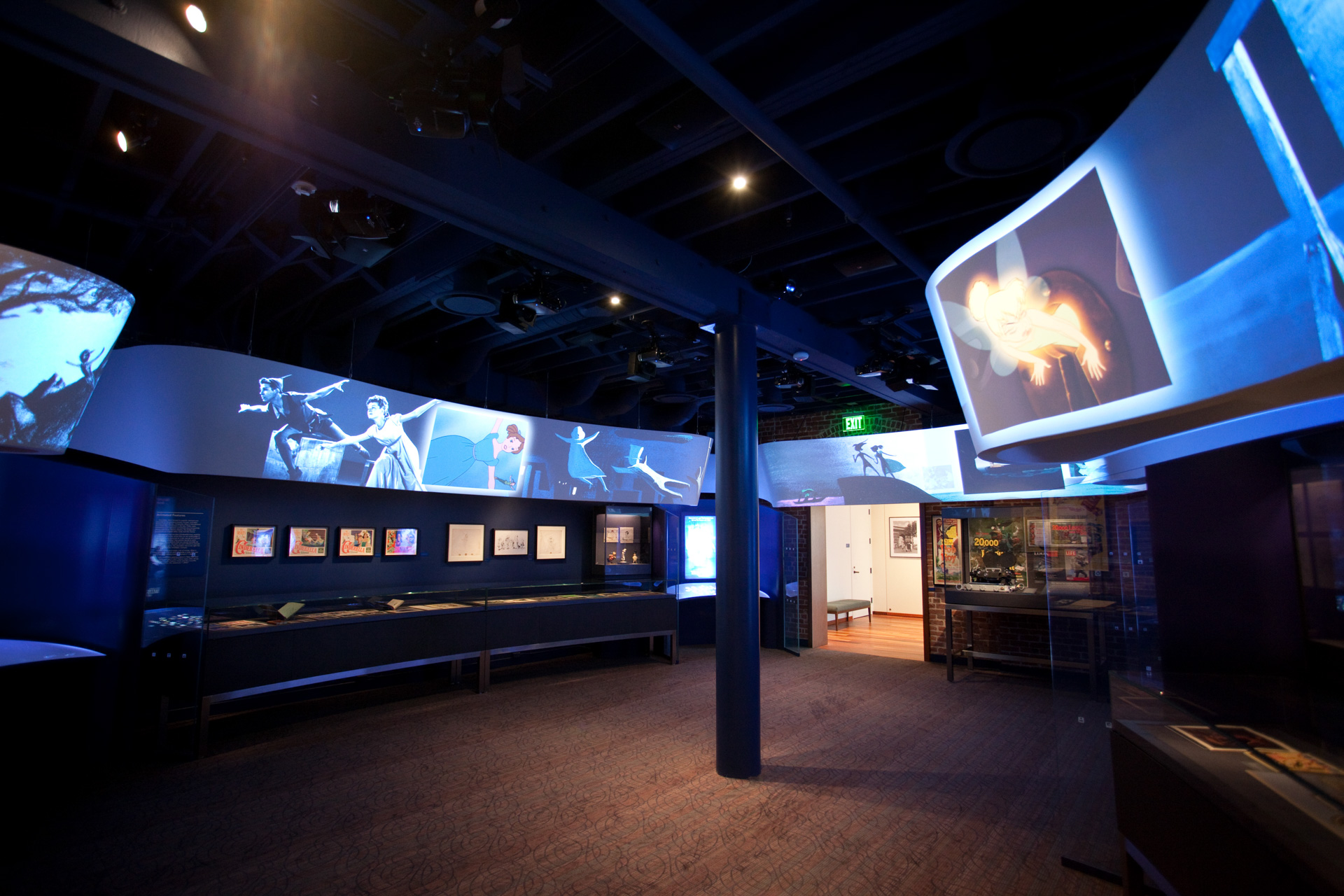 Video Ribbon at Walt Disney Family Museum, which is a nice immersive space. Exhibit Design by Rockwell Group Architects.  Media production by Batwin and Robin.  AV Integration and control by BBI Engineering, Inc. Photo credit BBI Engineering, Inc | AVIXA