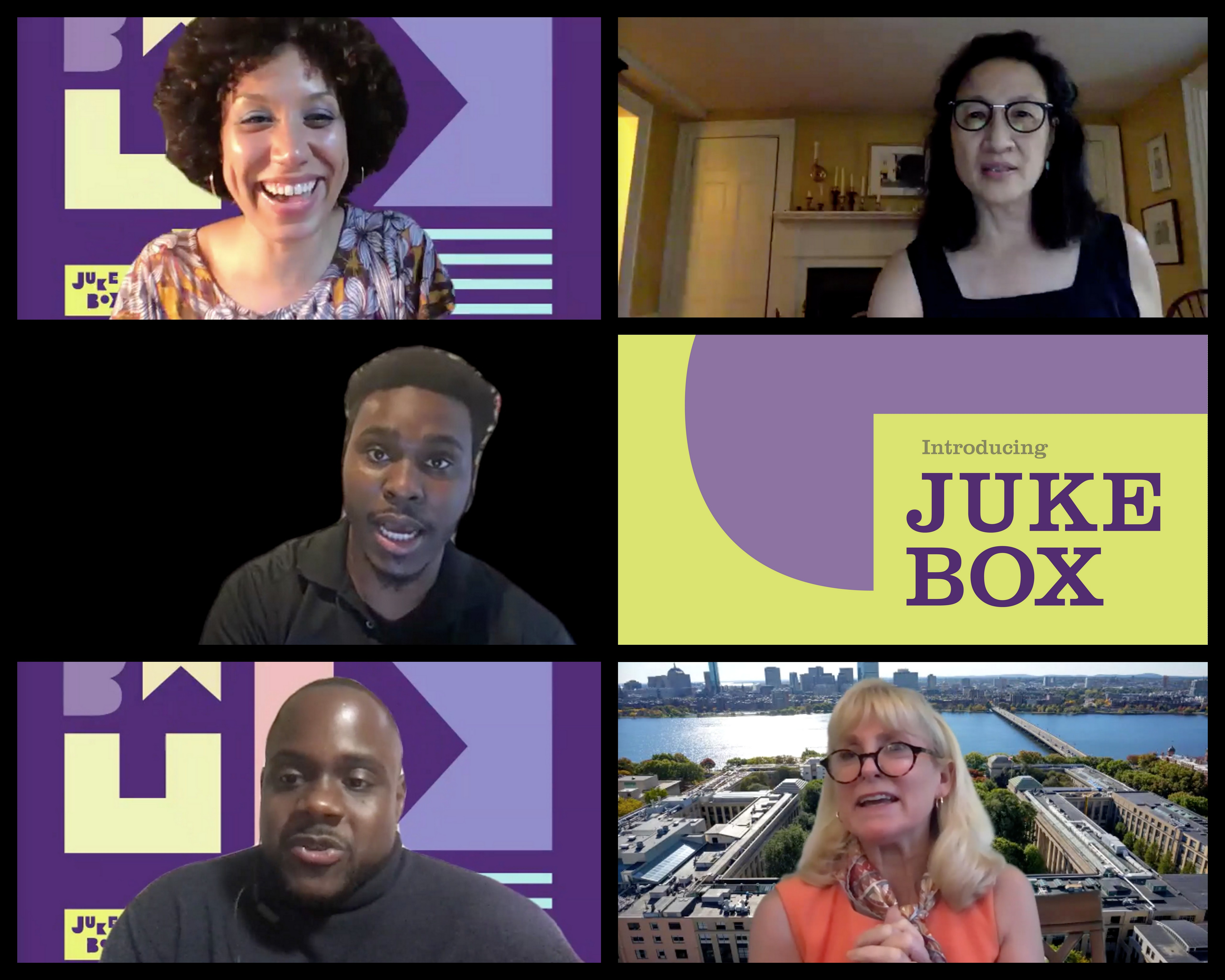 """Video stills from """"Introducing Jukebox,"""" Jukebox's kick-off virtual program which took place on July 28, 2020. Pictured from left to right: Elisa Hamilton, Jukebox Artist/Creator - Lillian Hsu, Director of Public Art, Cambridge Arts Council - M. Moses Michel, Co-Founder, The Loop Lab - Chris Hope, Co-Founder and Executive Director, The Loop Lab - Stephanie Couch, President, Foundry Consortium   AVIXA"""